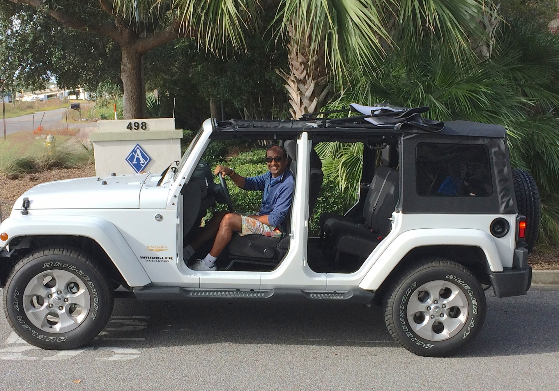 Prag, Zubie's COO, driving his wife's Jeep!